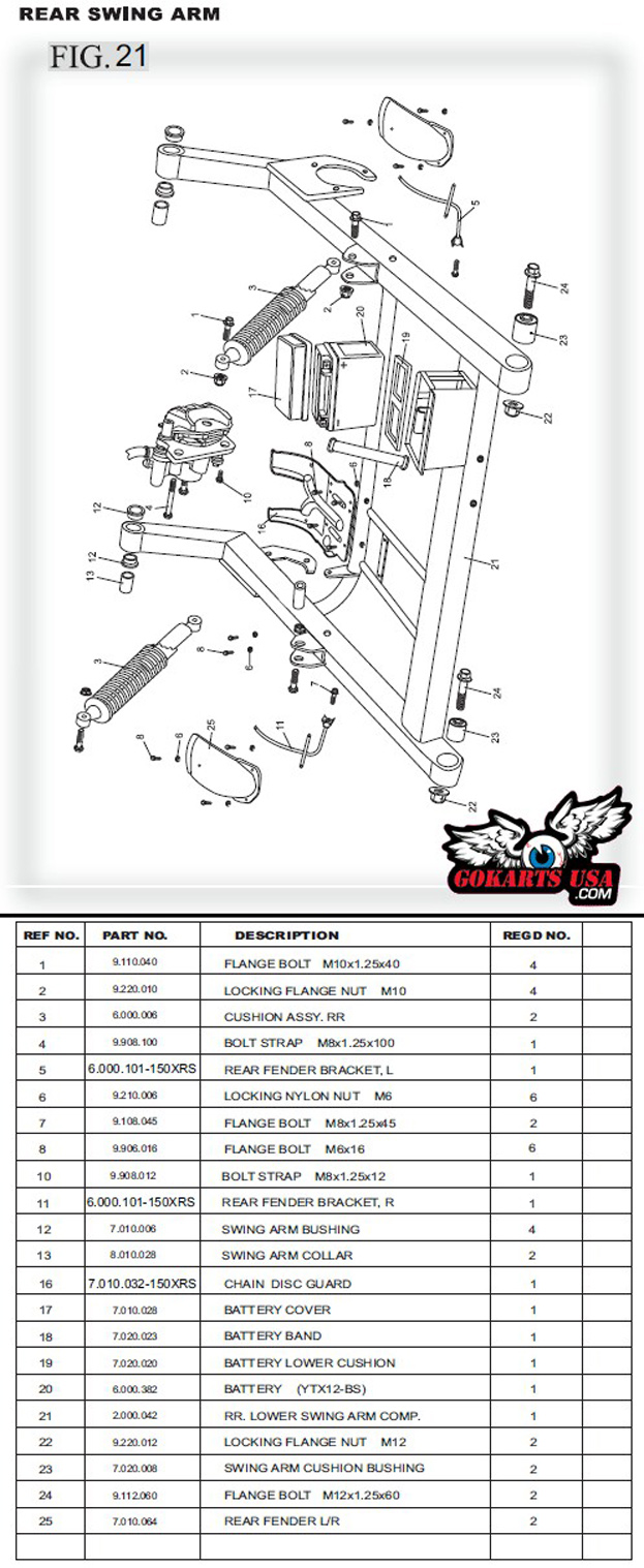110 Atv Stator Wiring Diagram Rr Lower Swing Arm Comp For Trailmaster 150 Xrs Buggy Go Kart