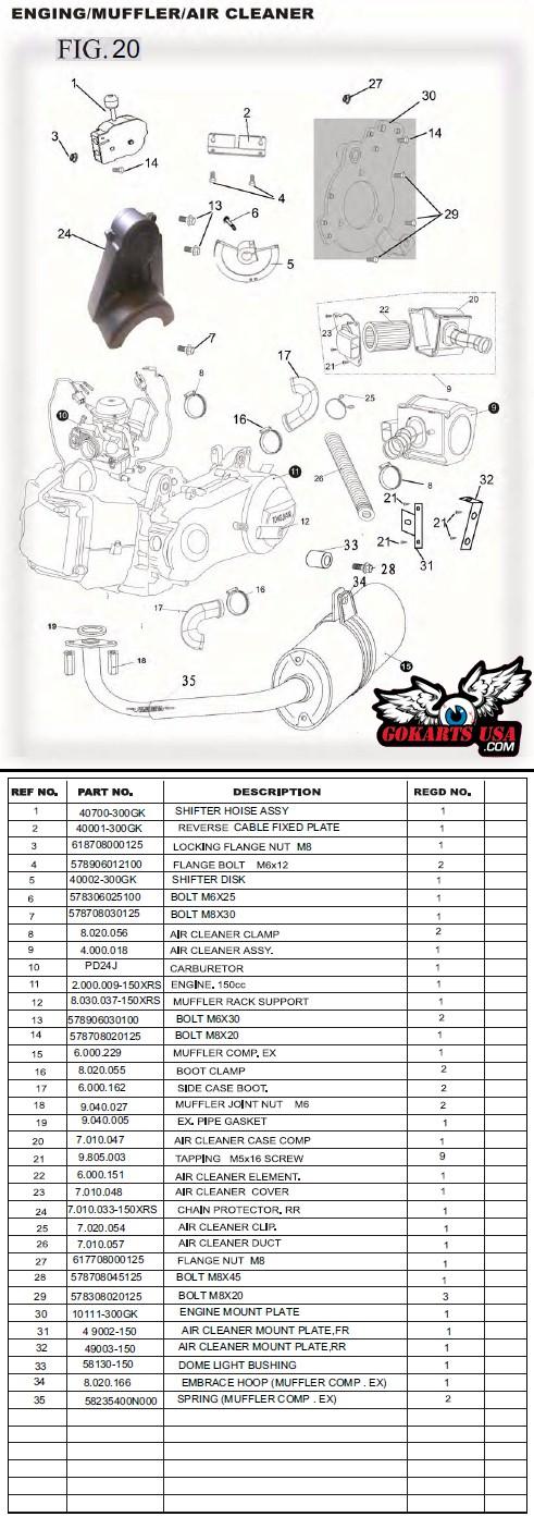 Carburetor, for TrailMaster GY6 150 Buggy Go Kart