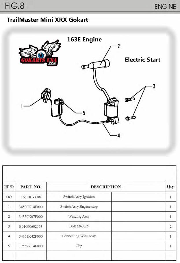 48v Club Car Schematic Diagram Trailmaster Mini Xrx Xrs Gokart 163cc Engine Electric Start