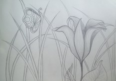 Destiny's vision of Ms. O'Keeffe's day lily.