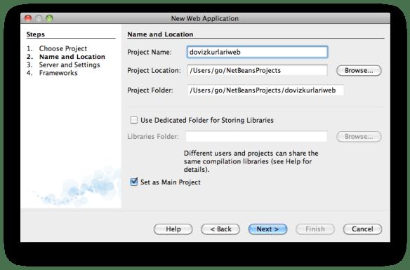 NetBeans'de yeni Java EE 6 web projesi yaratma
