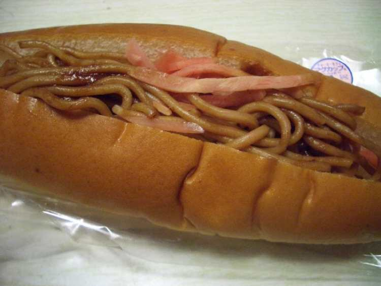 Japanese food - Yakisoba pan - a bun filled with noodles