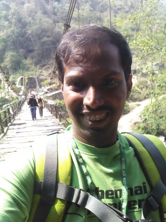 yaay, a big smile after successfully crossing the bridge