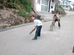 Street cricket, Prem was bowling at the other end