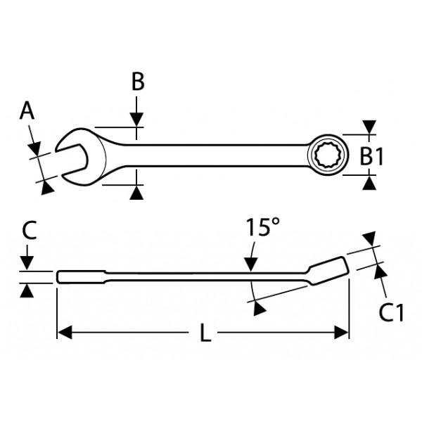 Klíč očko-plochý, 16 mm, DIN3113, Tona Expert, E113211T