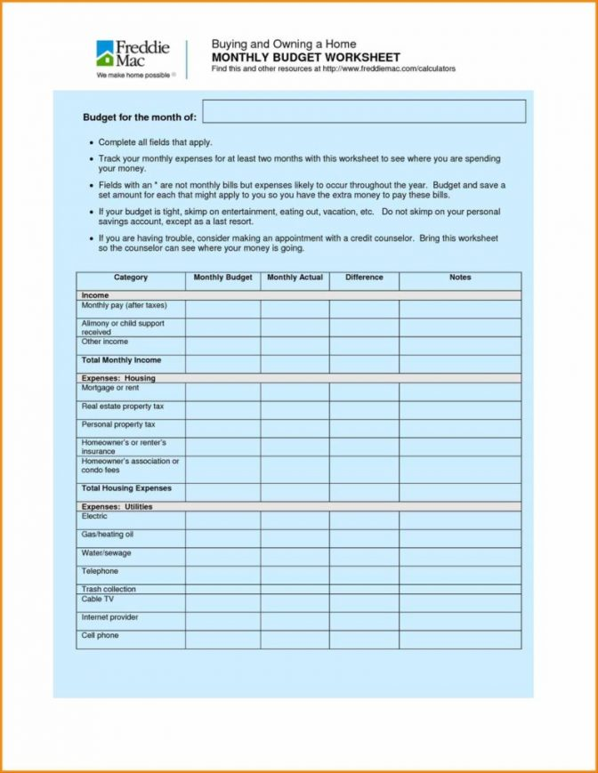 family budget template monthly