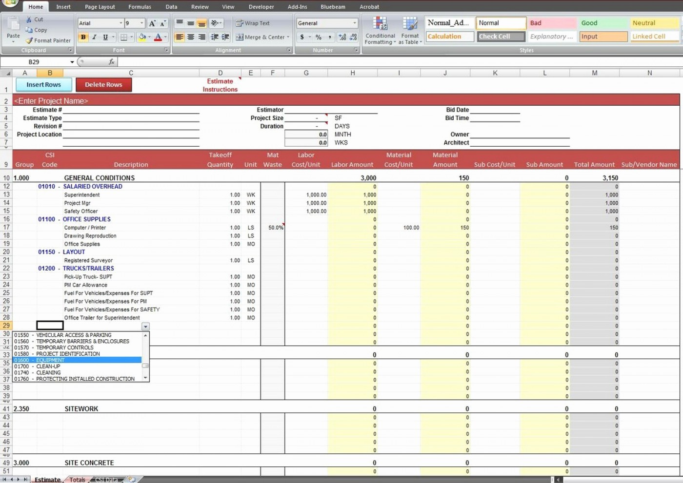 Home Construction Cost Estimate Spreadsheet Excel Building India Calculate Percentage House