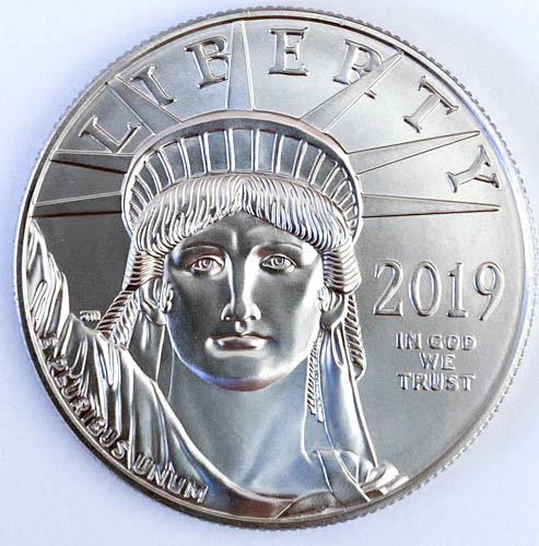 1 Oz Platinmünze American Eagle Platin Hinten