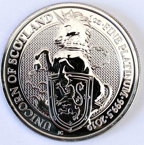 1 Oz Platinmünze Queens Beasts Unicorn of Scotland Münze Vorne