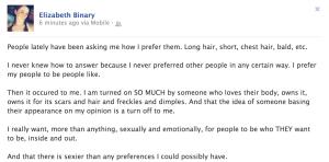 Elizabeth's FB Status Update