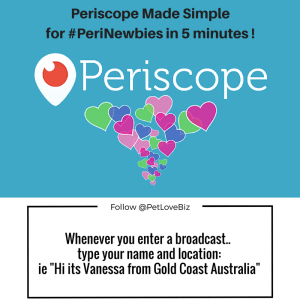 Whenever you enter a broadcast type your name and location: [example] Hi it's Vanesa from Gold Coast Australia""