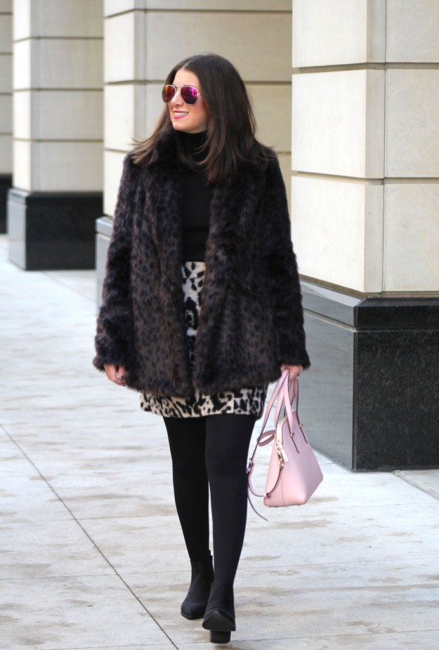 leopard skirt and faux fur 1