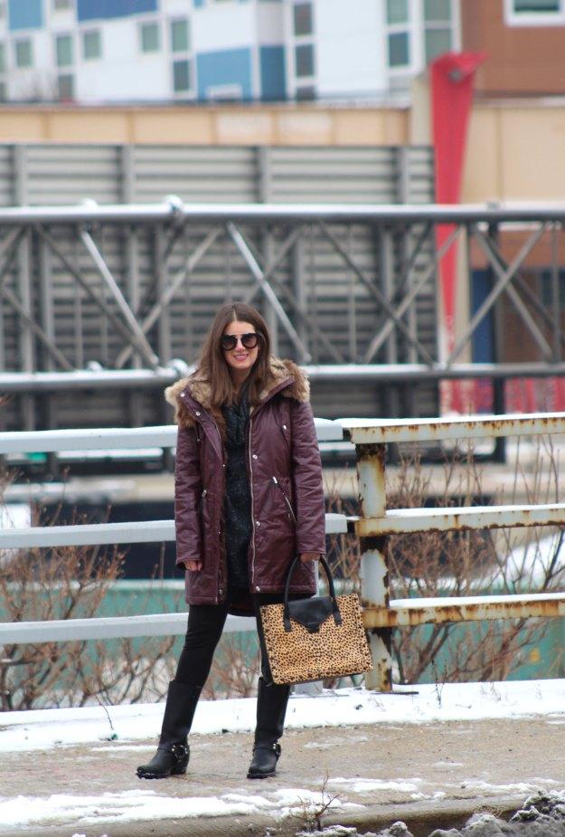 burgundy coat and leopard 12