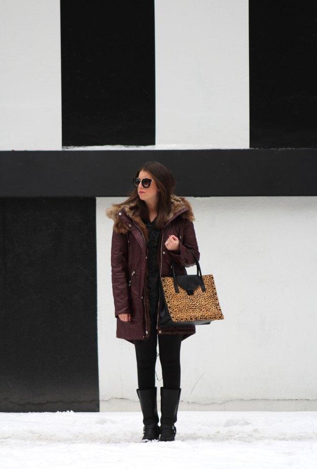 burgundy coat and leopard 2