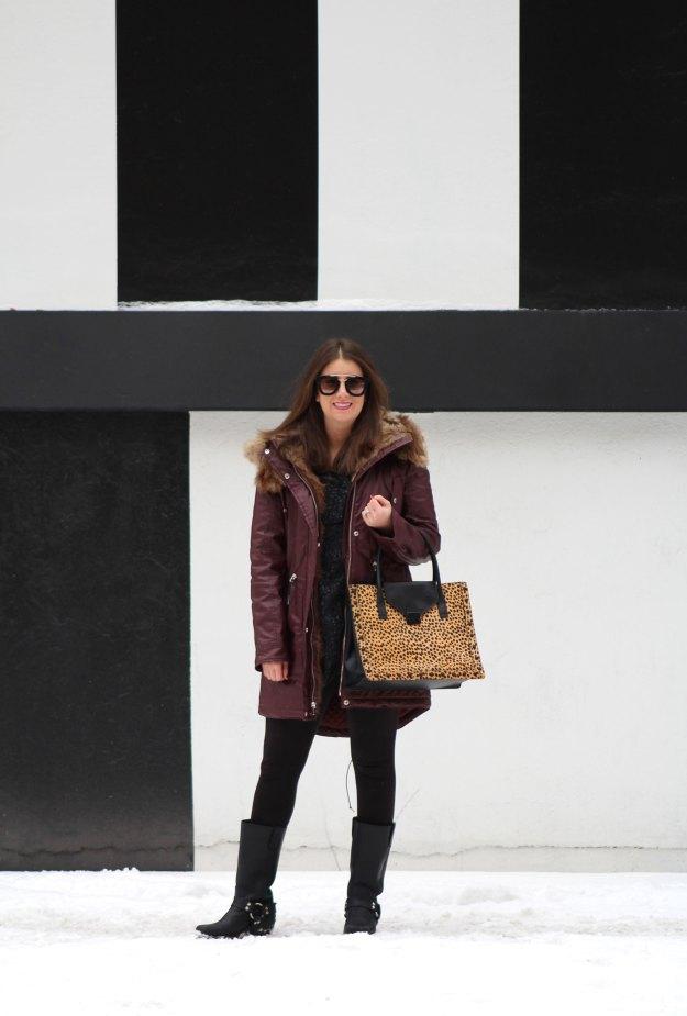 burgundy coat and leopard 4