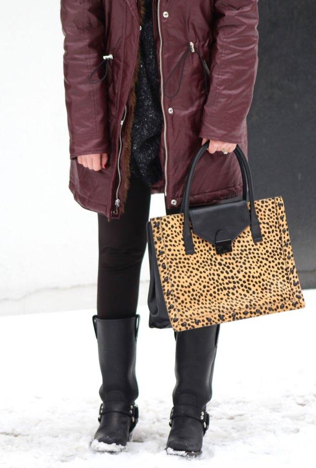 burgundy coat and leopard 9