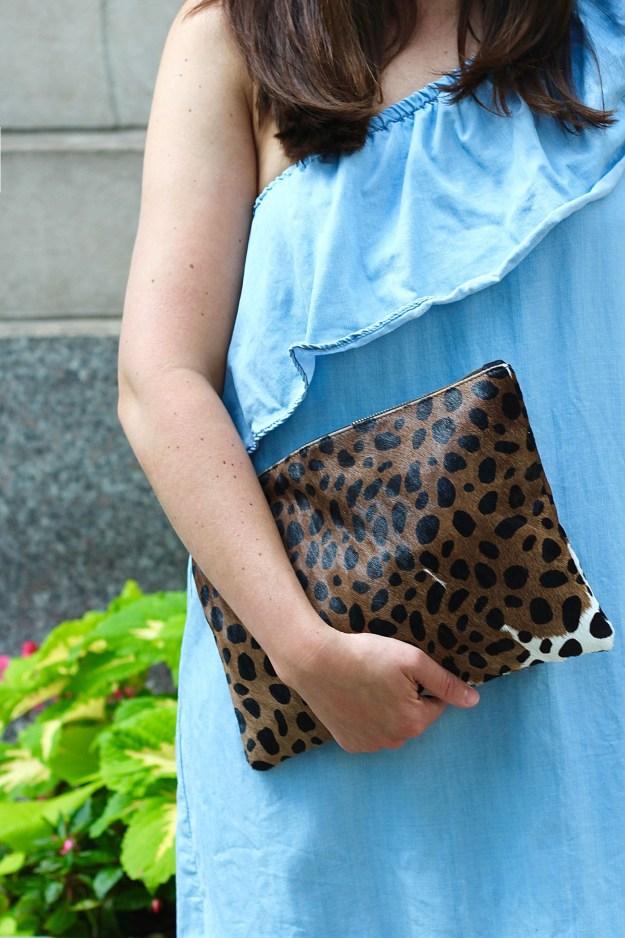 calf hair leopard clutch