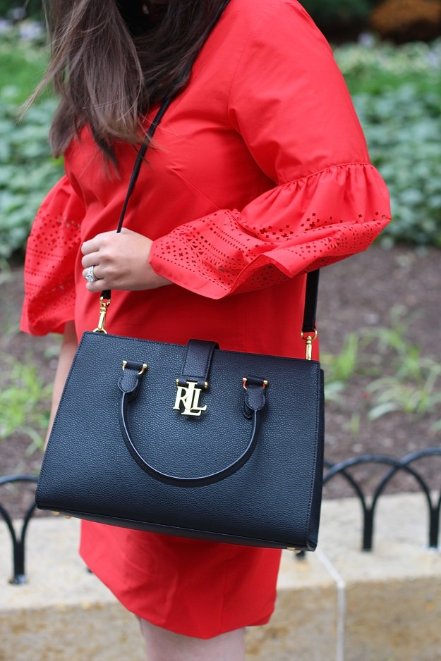 Red Dress and Black Satchel