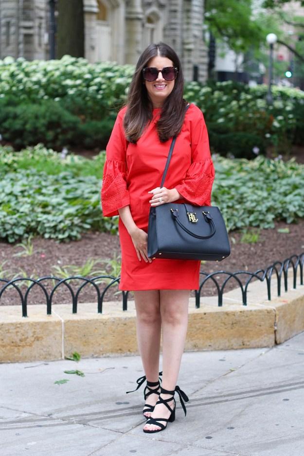 Lauren Ralph Lauren Red Dress and Handbag