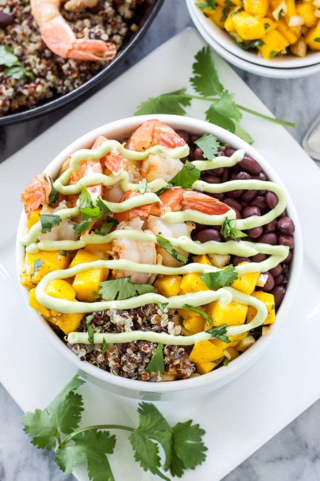 shrimp quinoa bowl