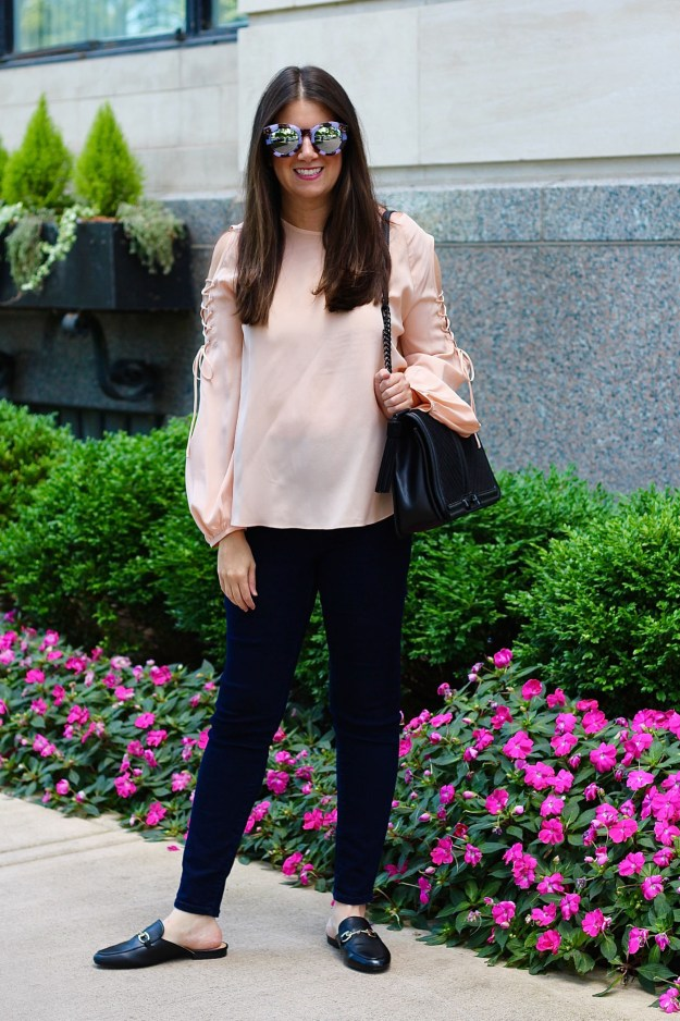 blush top, black mules, rebecca minkoff handbag