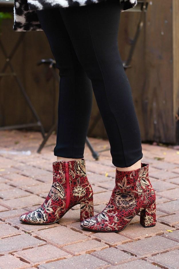 Block Heel Brocade Boots