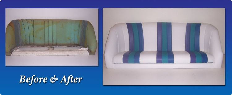 Boat seats with new vinyl upholstery