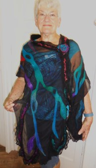 Nuno felted wrap with lace.