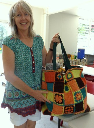 Our crochet felted bag won by Linda