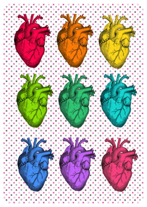 [image description: a 3 x 3 grid of brightly colored scientific illustrations of anatomical hearts is laid out on a pattern of small grey and pink dots]