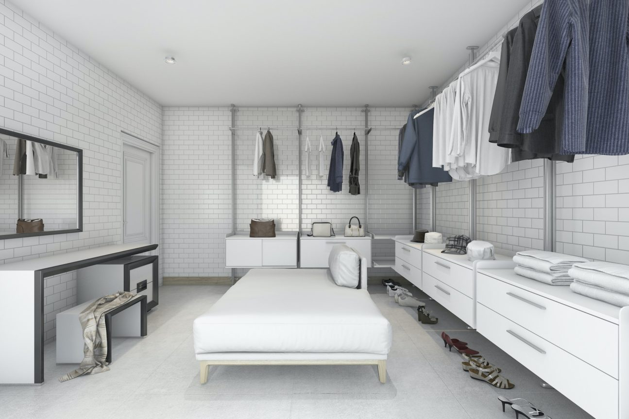 3d rendering minimal white brick make up room and walk in closet