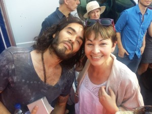 Russell Brand and fellow anti-austerity speaker, Caroline Lucas