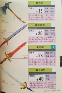 Dragon Quest I & II Official Guide Book weapon list