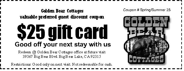 Big Bear Lake Coupon Golden Bear Cottages