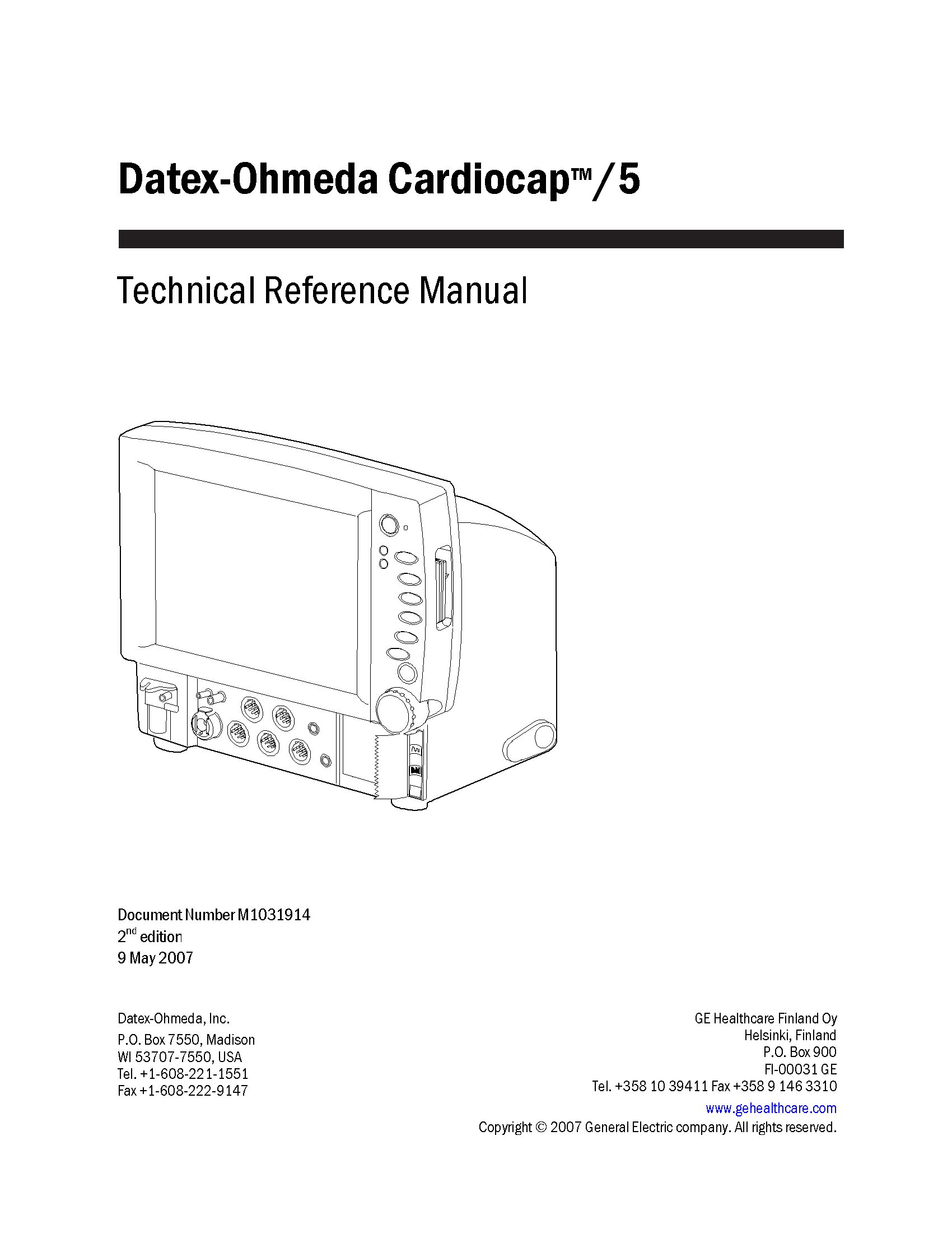 Datex-Ohmeda Cardiocap 5 Service manual (2007)