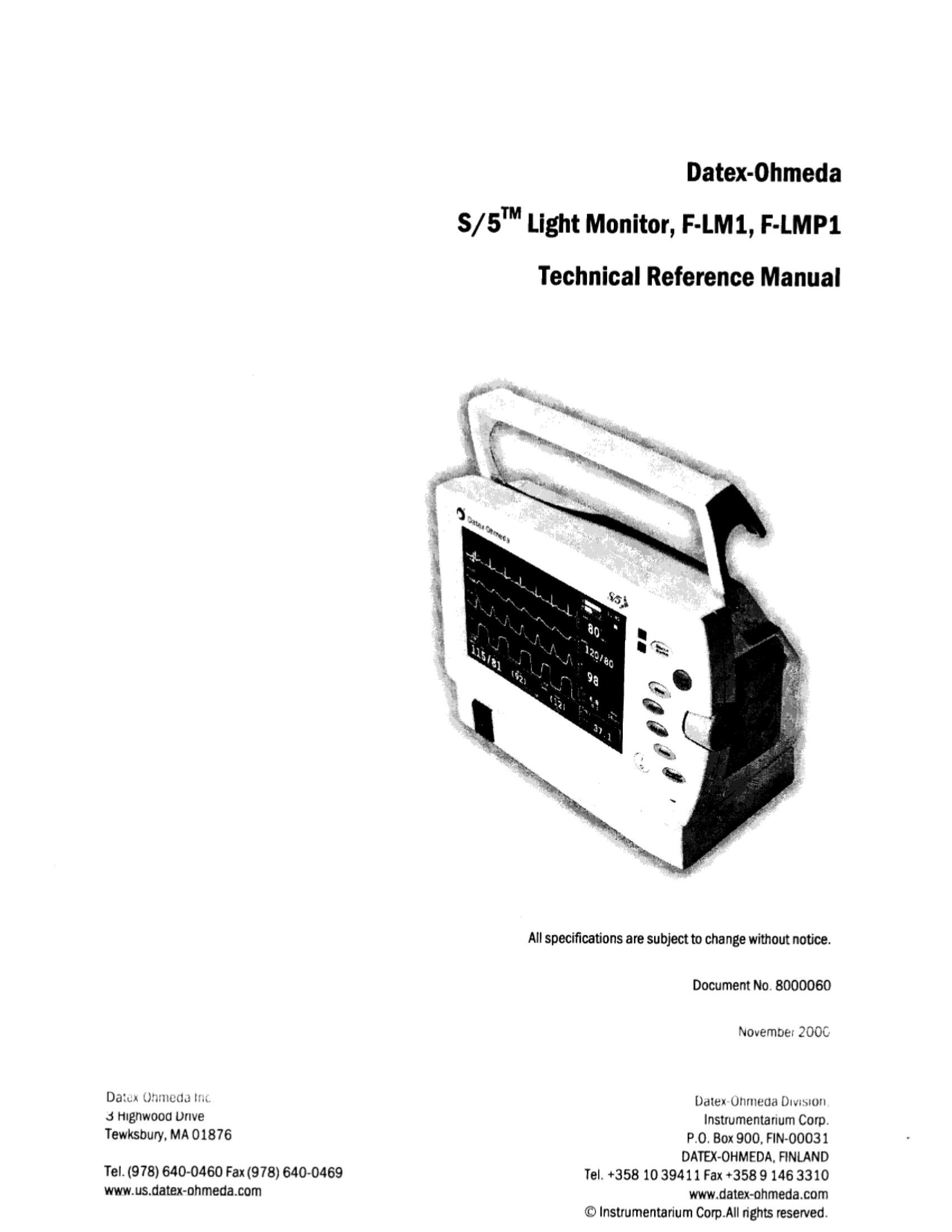 Datex-Ohmeda S/5 Light Technical reference manual (2000