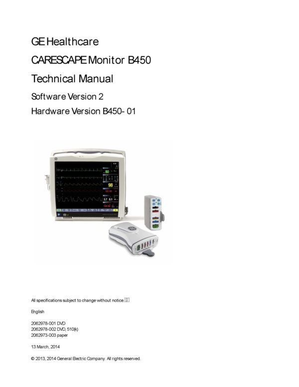GE Carescape B450 Technical manual 2012