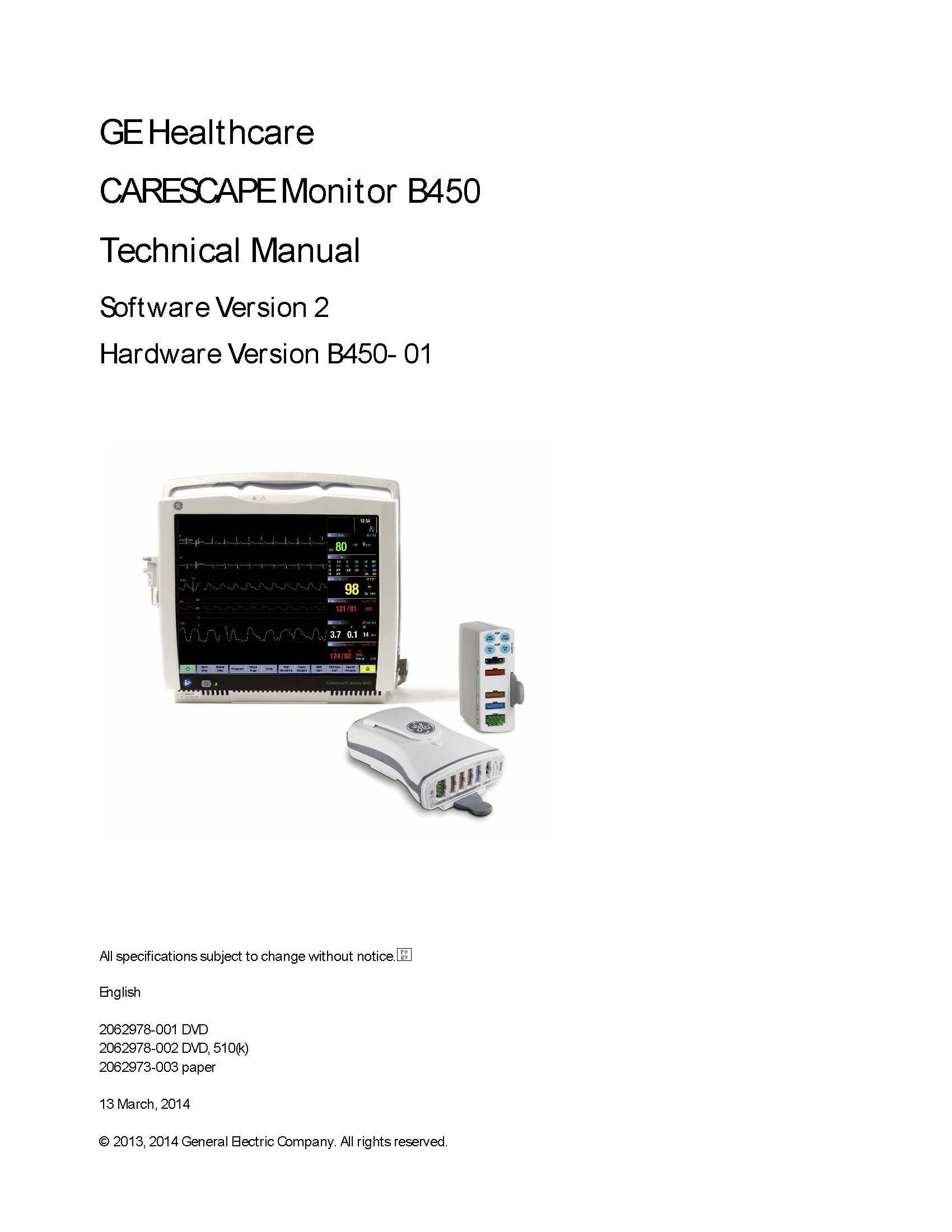 GE Carescape B450 Technical manual 2012