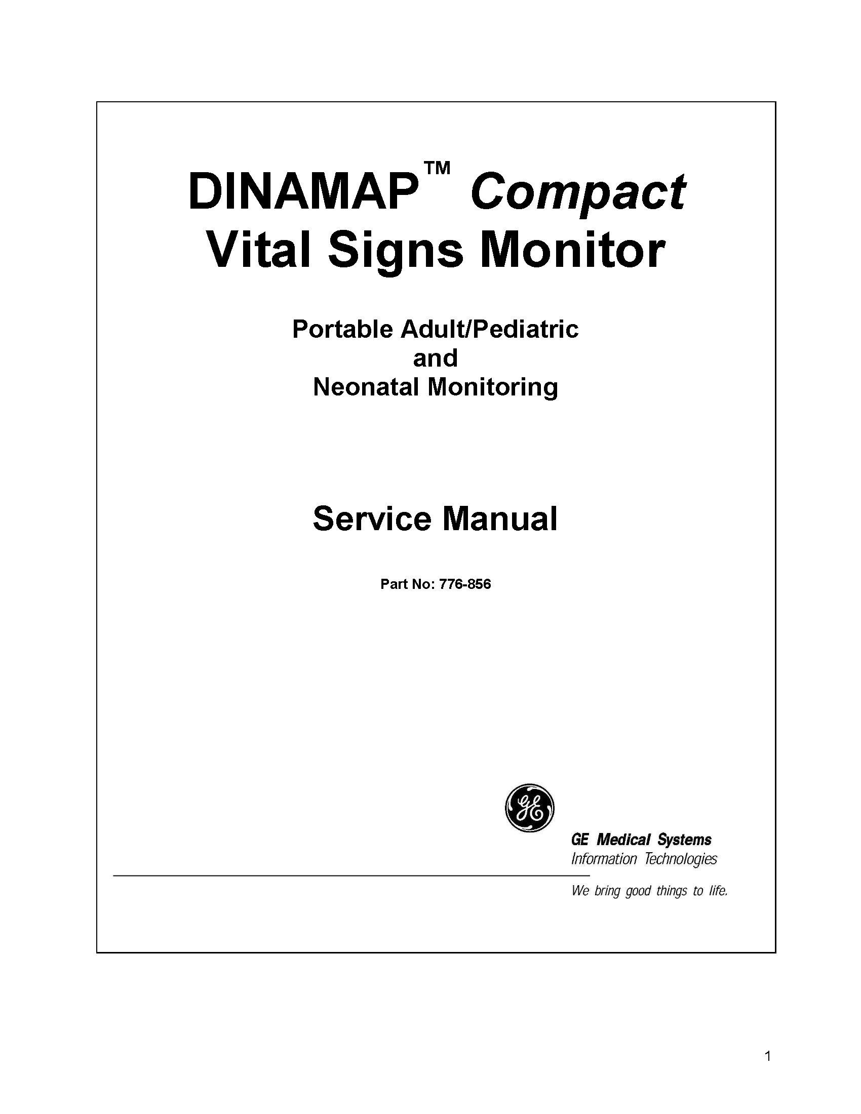 GE Dinamap Compact Service manual