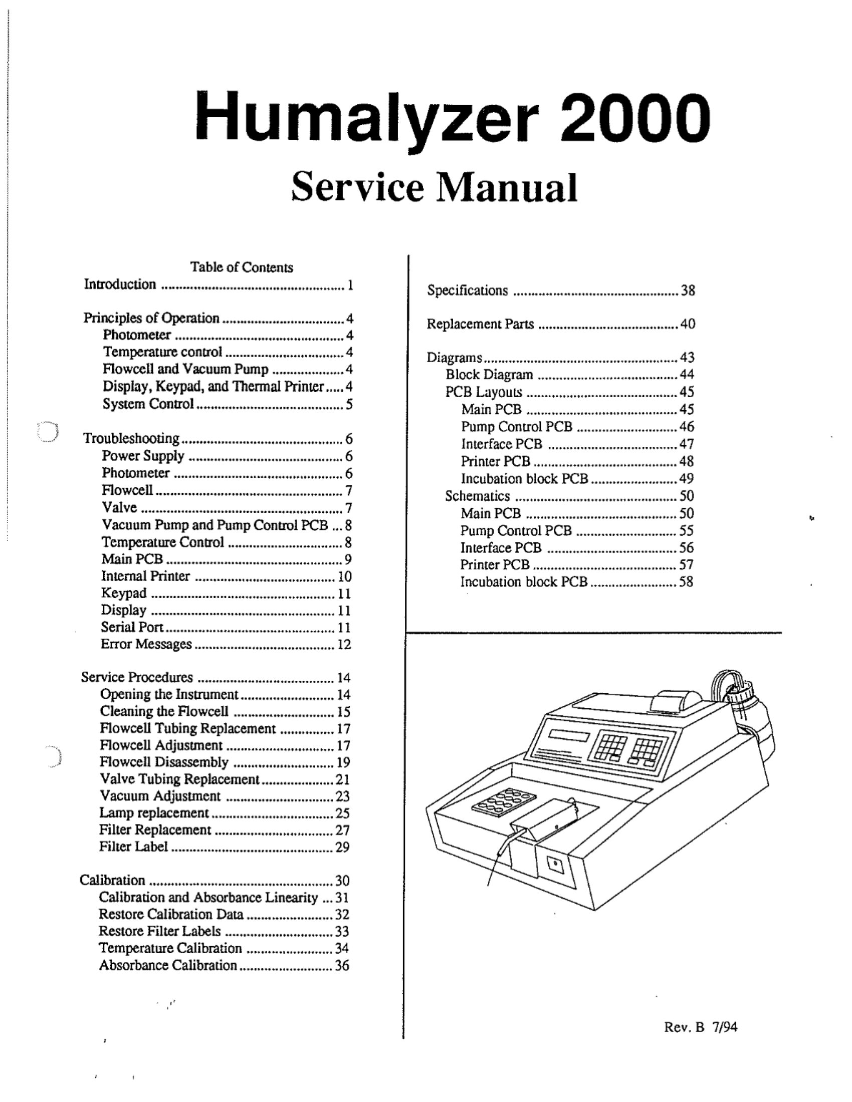 Human Humalyzer 2000 Service Manual