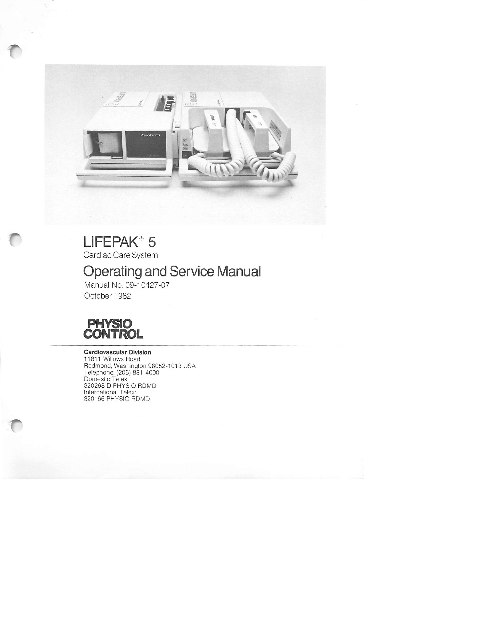 Physio Control Lifepak 5 Service and user manual