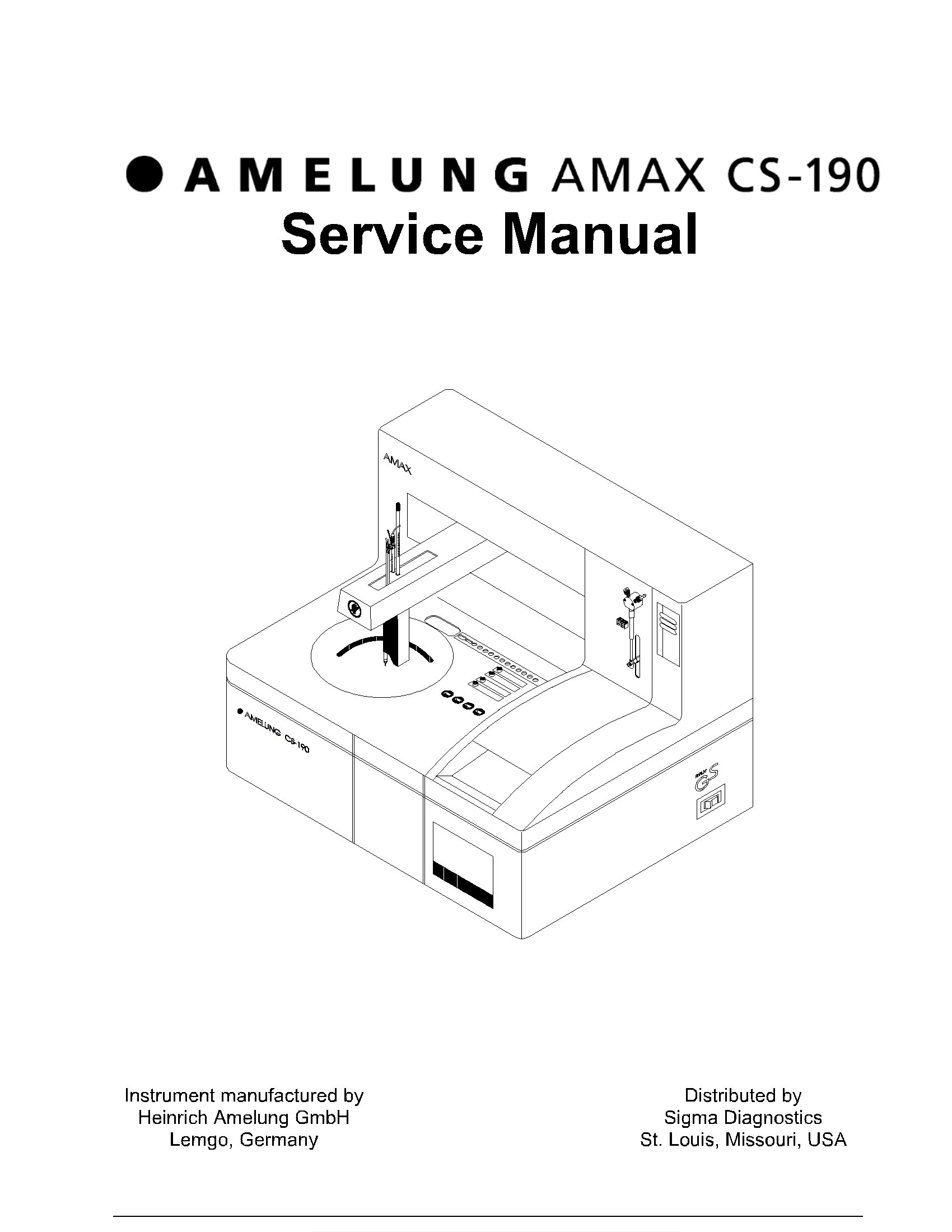 Sigma-Amelung Amax CS-190 Analyzer Service Manual