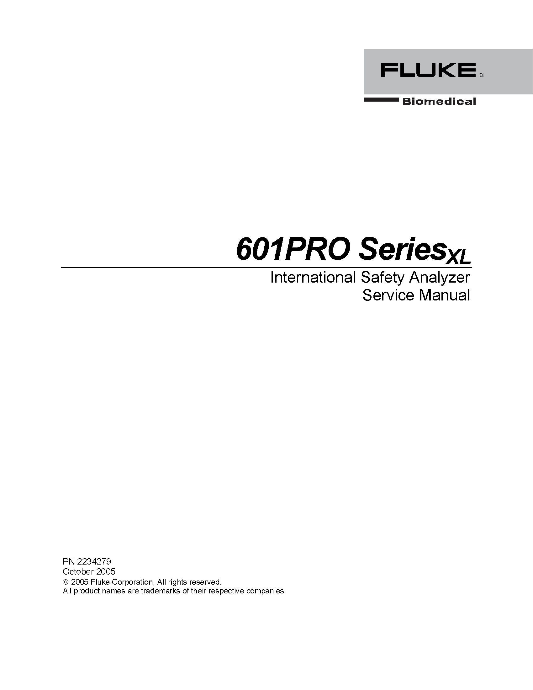 Fluke 601PRO SeriesXL Service Manual