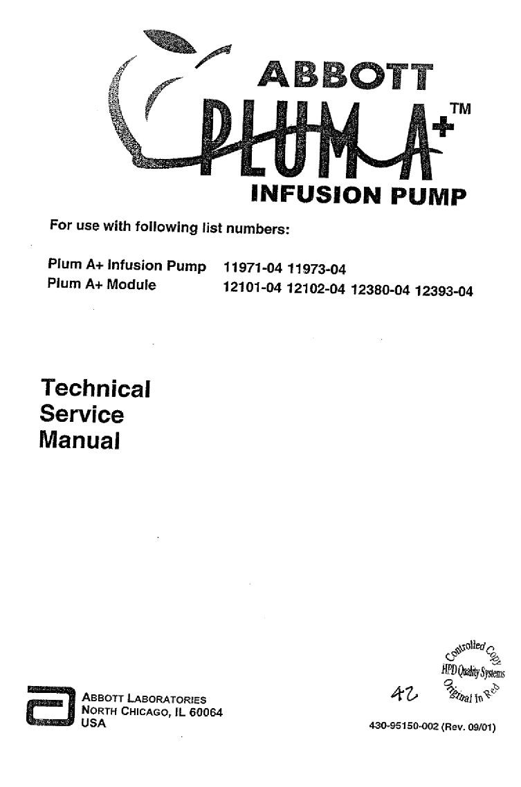 Abbott Plum Service manual