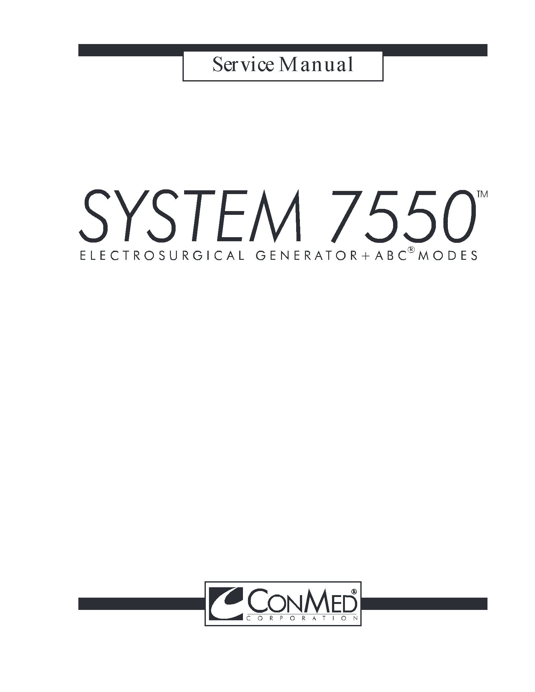 Conmed 7550 Service manual