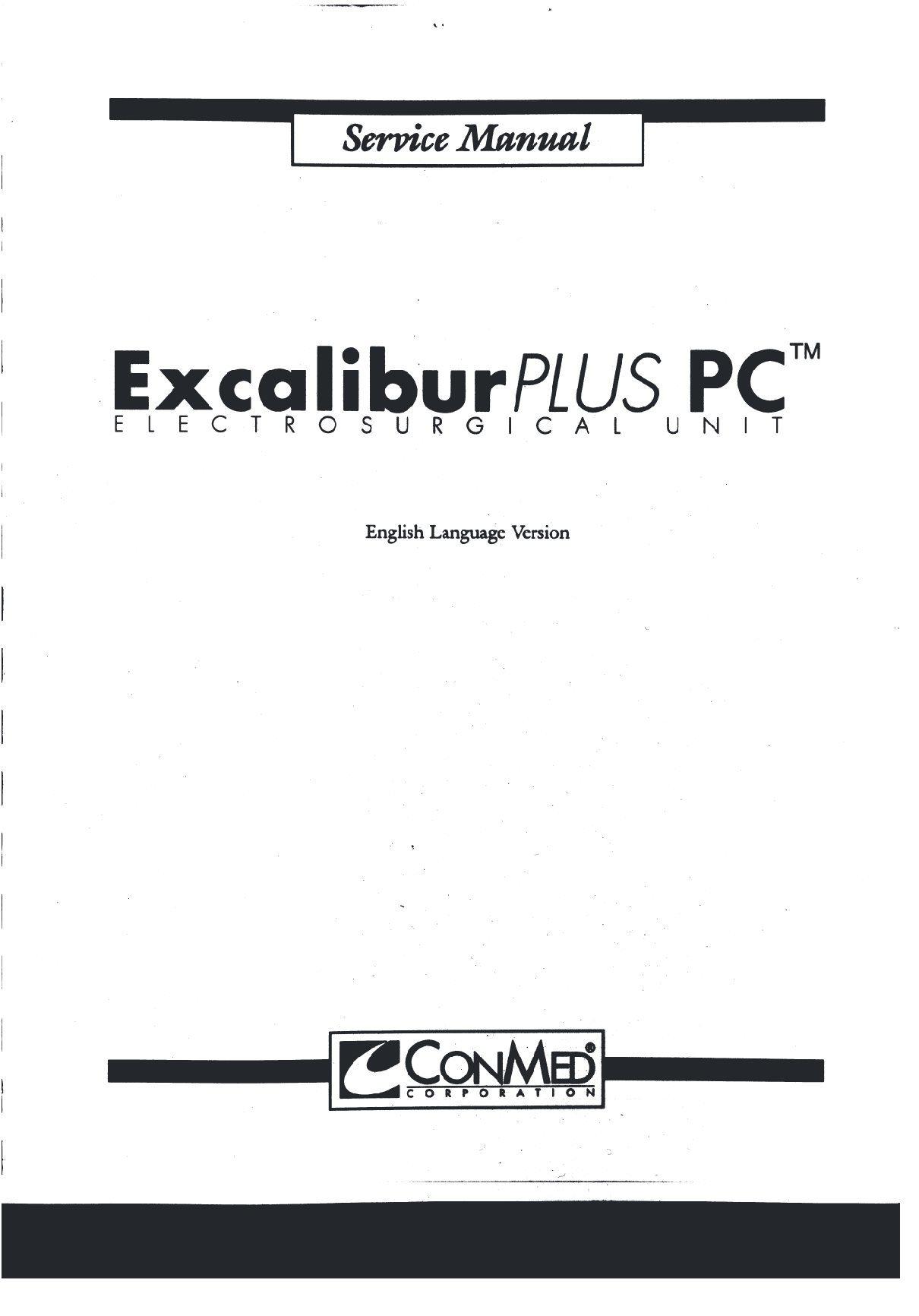 Conmed Excalibur Plus PC ICU Service manual