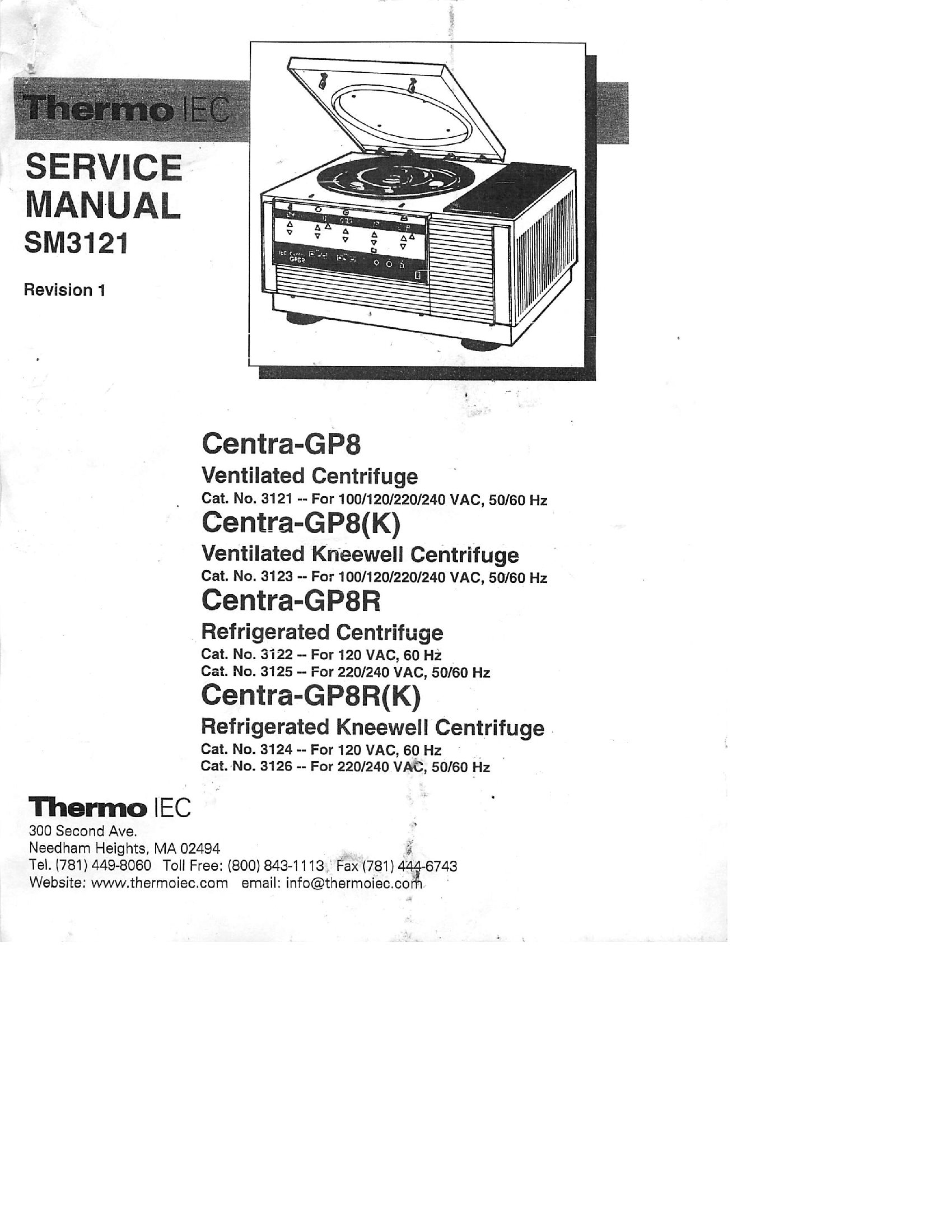 Thermo IEC Centra GB8 User and service manual