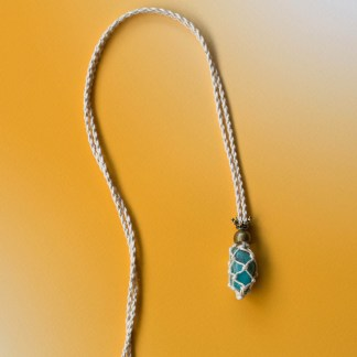 Amazonite Macrame Necklace | Golden Blue