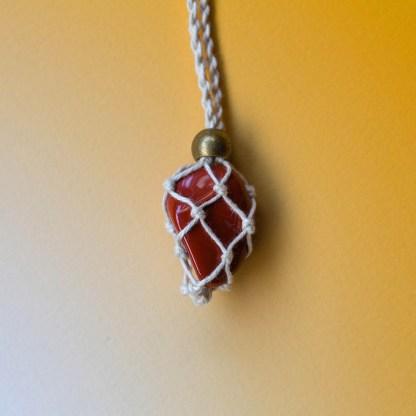 Red Jasper Macrame Necklace | Golden Blue
