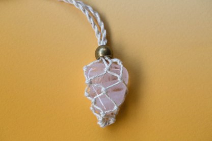 Rose Quartz Macrame Necklace | Golden Blue